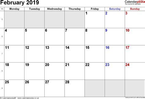 Calendar 2019 February Calendar February 2019 Uk Bank Holidays Excel Pdf Word