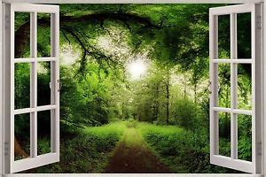 Illusion Bussiness Mouse B 120 3d effect window view tree nature forest road sticker wall