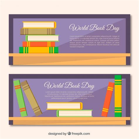 banner design book world book day banners with colored books in flat design