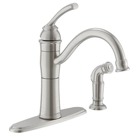 shop moen braemore spot resist stainless 1 handle high arc kitchen faucet with side spray at