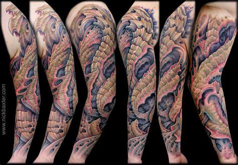 bio organic tattoos bio organic sleeve by nick baxter tattoos