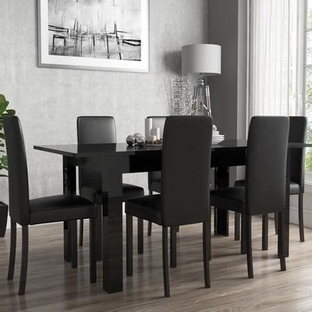 Black Gloss Dining Table And 6 Chairs Black Gloss Extending Dining Table And 6 Black Faux Leather Chairs Furniture123