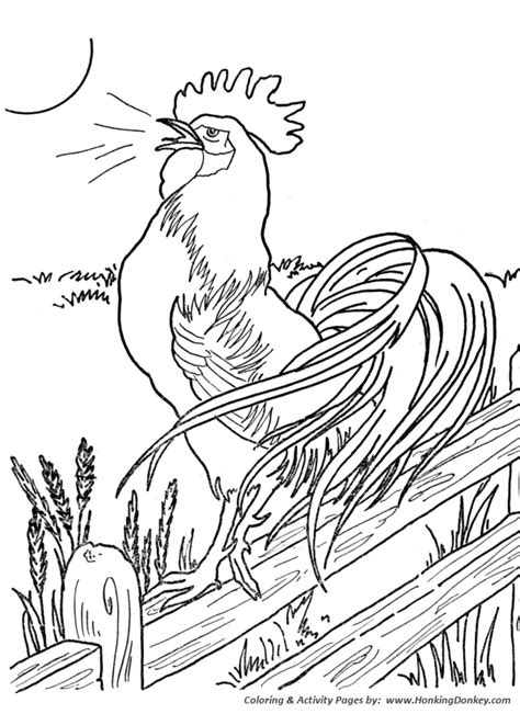 free rooster pictures to print farm animal coloring pages farm animal chicken coloring page morning roster at the