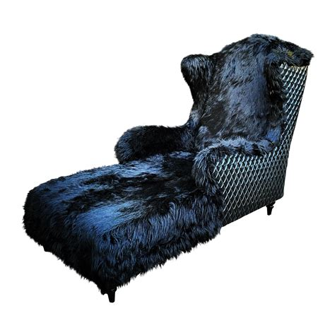 wingback faux fur chaise lounge chairish