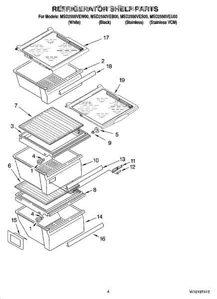 maytag refrigerator parts diagram parts for maytag msd2550ves00 refrigerator shelf parts