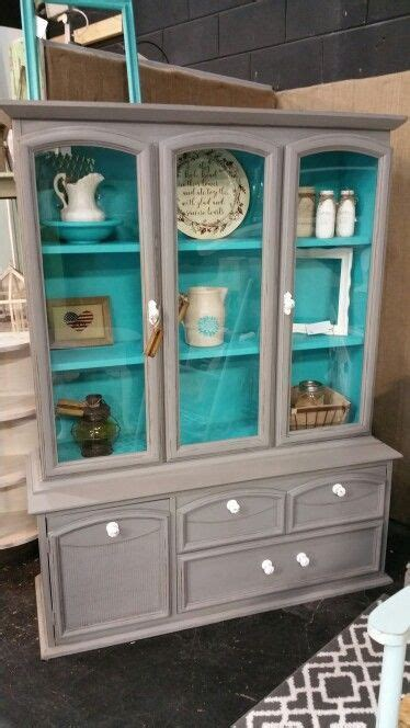 Gray and Turquoise China Cabinet   my painted furniture