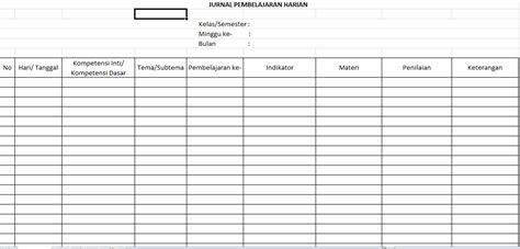 contoh format buku jurnal kelas download unduh jurnal pembelajaran harian kurikulum 2013