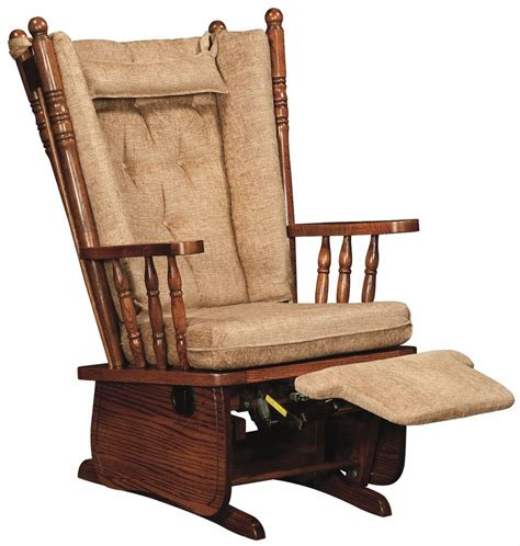 amish traditional  post glider chair upholstered foot rest solid wood ebay