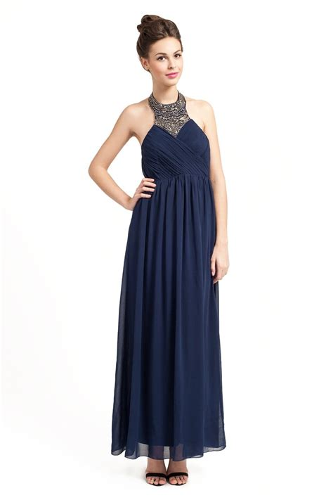 A Pretty Embellished Navy Dress From Warehouse by Navy Embellished Halterneck Rouched Detail