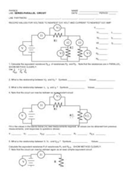 resistors in series and parallel circuits lab answers series parallel circuit 9th higher ed worksheet lesson planet
