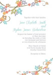 coral teal orange green and brown floral border free wedding invitation template free