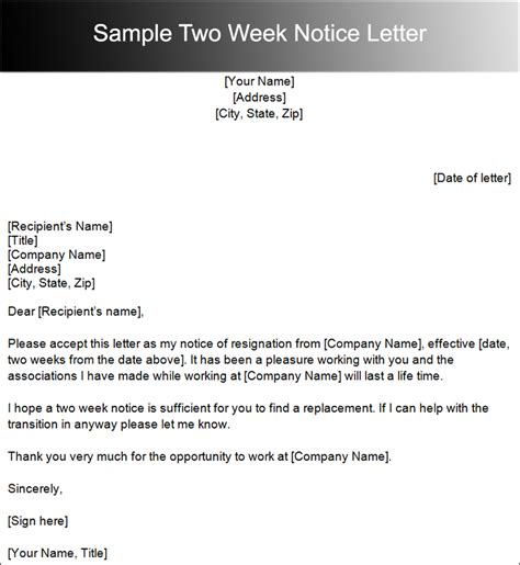 template resignation letter 2 week notice search results for sle of two weeks notice letter