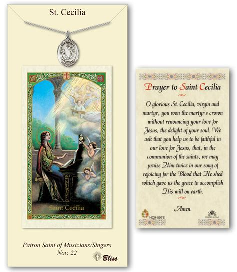 st sets for card st cecilia prayer card pendant gift set
