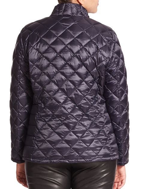 Quilted Puffer Jacket by Marina Rinaldi Quilted Puffer Jacket In Blue Lyst