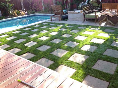 diy paver patio with grass artificial grass with pavers home diy grasses backyard and gardens