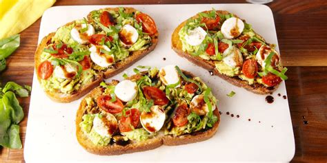 7 Healthy Snacks To Snack On At Work by Best Caprese Avocado Toast Recipe How To Make Caprese