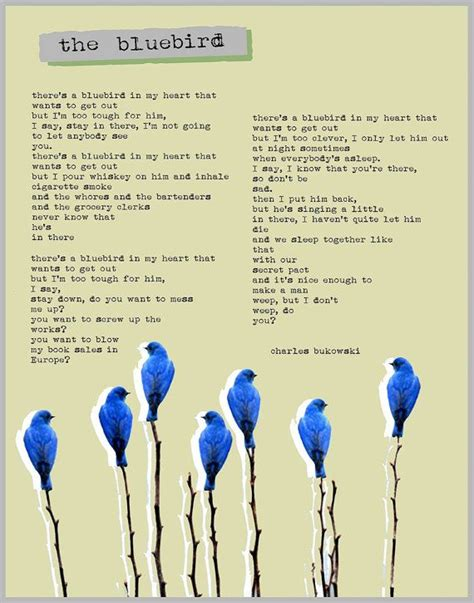 charles bukowski poster the bluebird poem collage