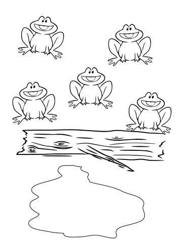 Five Little Speckled Frogs coloring page | Free Printable