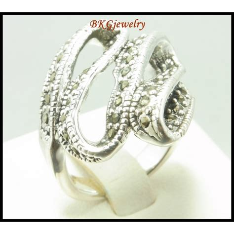Electroforming 925 Sterling Silver Marcasite Ring Jewelry