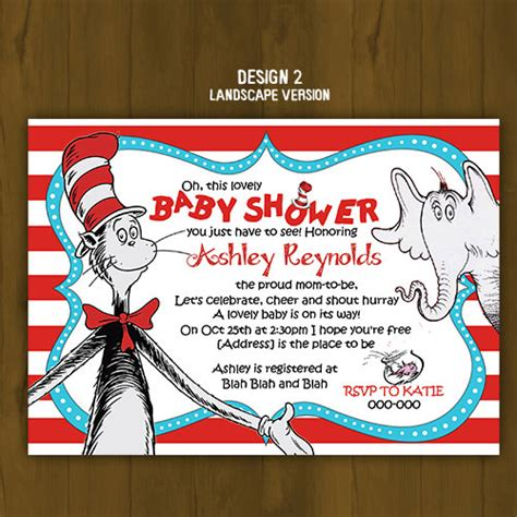 Dr Seuss Themed Baby Shower Invitations by Dr Seuss Cat In The Hat Baby Shower Invitation