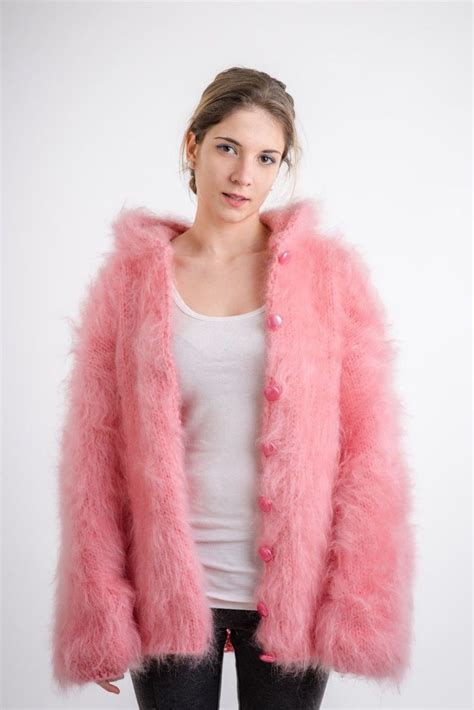 mohair cardigan knit mohair cardigan hooded jacket one size