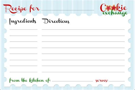 christmas recipe card template free best template idea