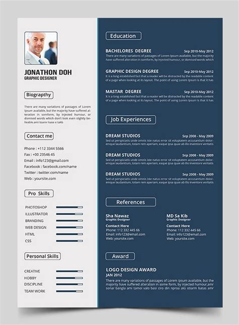 Free Resume Psd Template Psd Free Stuff Pinterest Graphic Resume Cv Resume Template And Free Modern Resume Templates