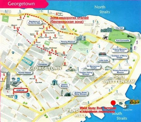 printable map georgetown penang map of penang island and george town with landmarks