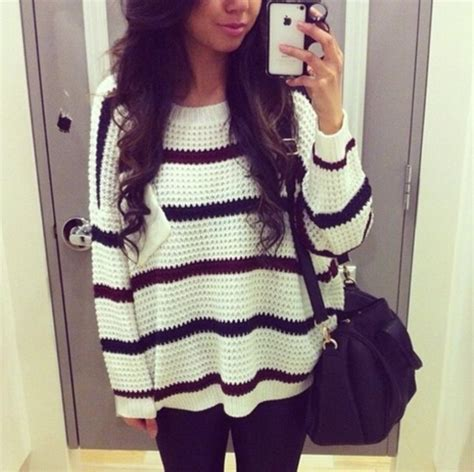 Sweater Give Me A White sweater give me knit clothes knitted sweater stripes black and white burgundy