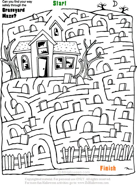 halloween coloring pages mazes spooky halloween graveyard maze