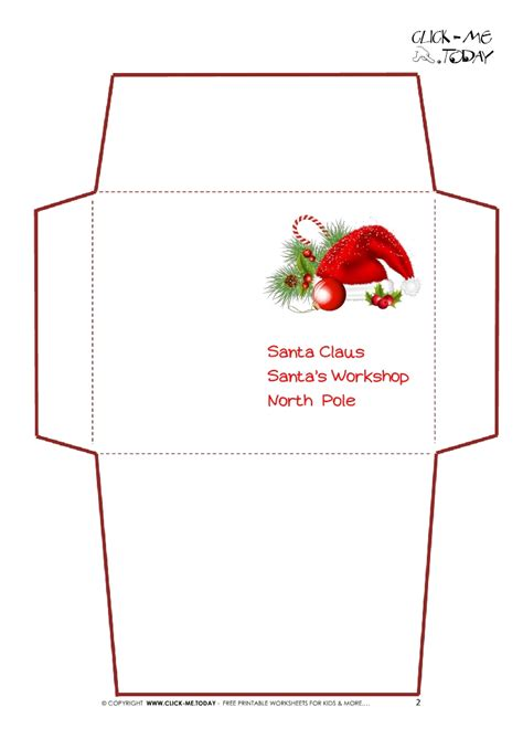 santa envelope template printable letter to santa claus envelope template santa hat 2