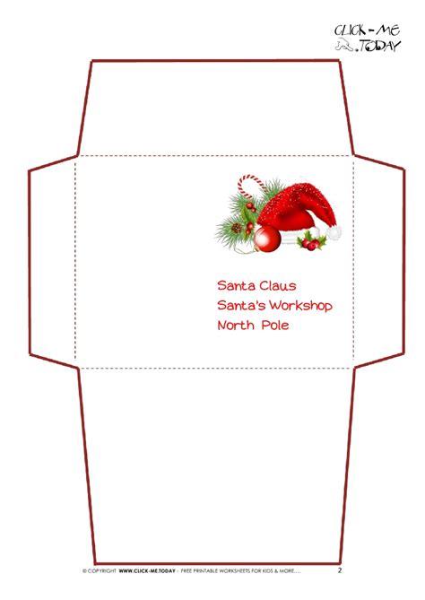 printable letter santa claus envelope template santa hat