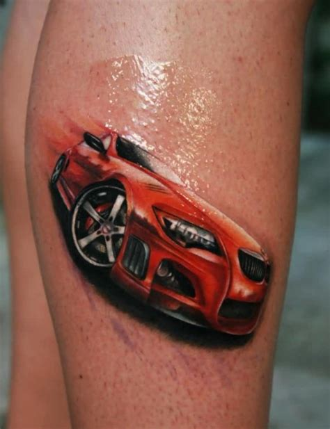 car related tattoos beautiful car on leg