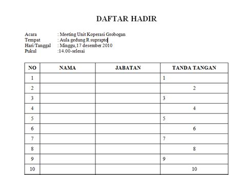 contoh format daftar hadir lembur contoh form daftar hadir rapat yang sering digunakan