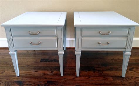 chalk paint ideas for end tables rainy day blue gray before after end tables painted