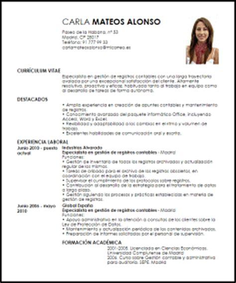Modelo Curriculum Administrativo Contable Modelo Curriculum Vitae Especialista En Gesti 243 N De Registros Contables Livecareer