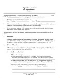 separation agreement template separation agreement gallery