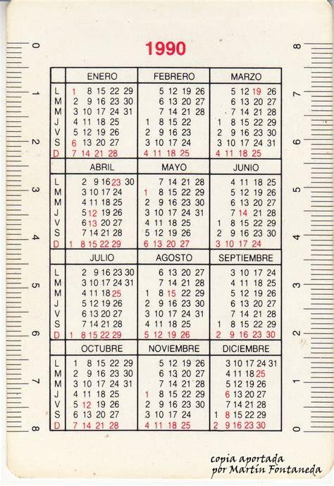 Calendario Ano 1990 Calendario 1990