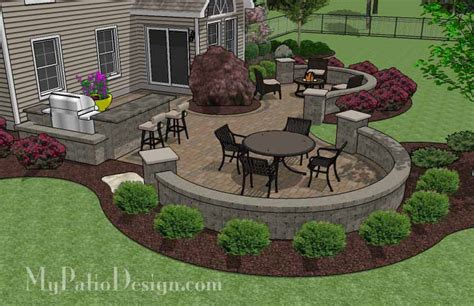 Patio Pavers For Grill Large Paver Patio Design With Grill Station Bar Plan
