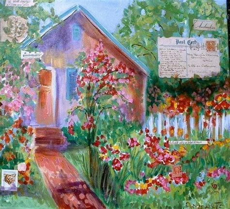 Cottage Garden Paintings by Andree Lisette Herz Artwork Cottage Garden Original Painting Acrylic Landscape