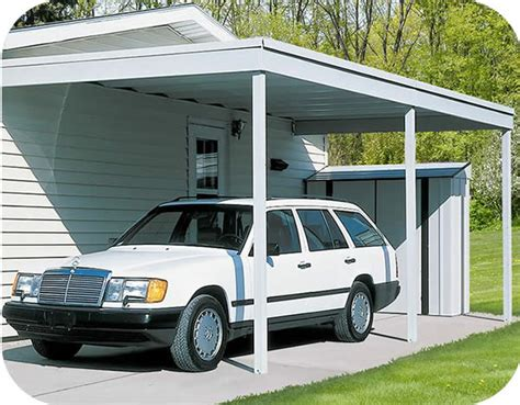Attached Carport Kits by Arrow 10x20 Attached Metal Patio Cover Carport Pc1020
