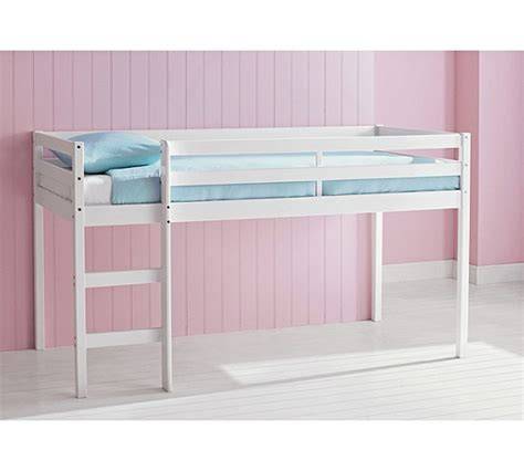 buy home wooden mid sleeper shorty bed frame white at
