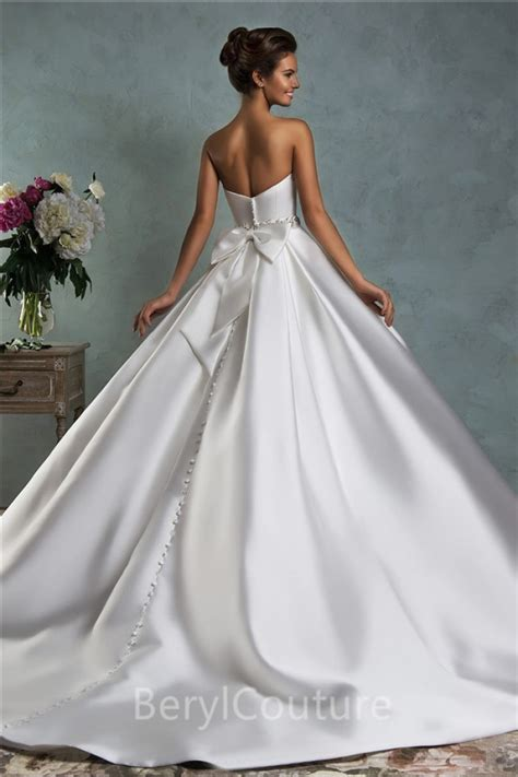 simple royal ball gown strapless draped wedding