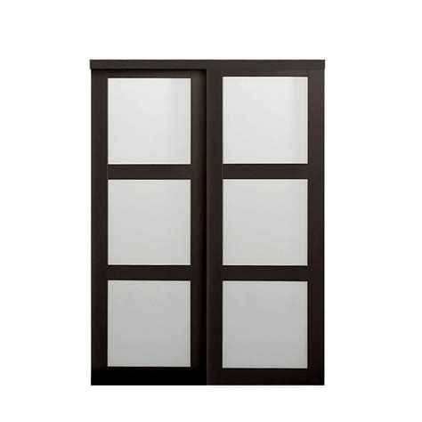 Composite Sliding Patio Doors Truporte Grand 60 In X 80 In 2290 Series Espresso 3 Lite Tempered Frosted Glass Composite