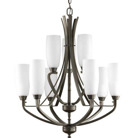 9 light chandelier bronze progress lighting wisten 9 light antique bronze chandelier