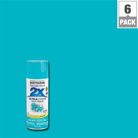 rust oleum painter s touch 2x 12 oz seaside gloss general purpose spray paint 6 pack 267116