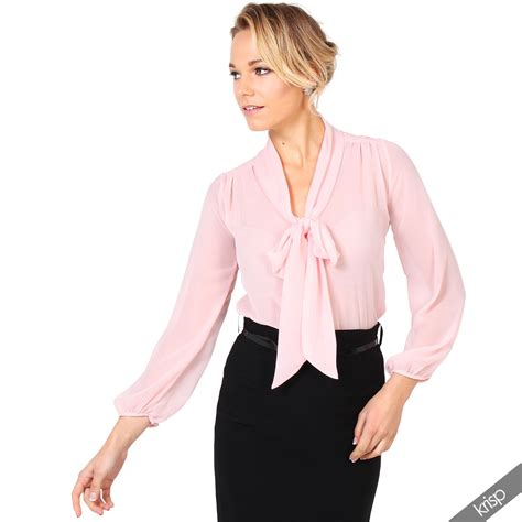 Blouse Import C1 18 krisp womens see through chiffon blouse tie sleeve transparent top ebay
