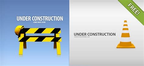 4 under construction pages free psd files