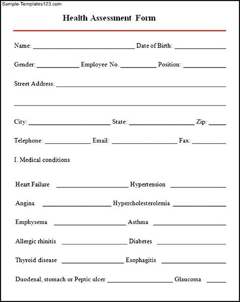 Health Assessment 8 Free For Pdf Sle ~ Health Assessment Template