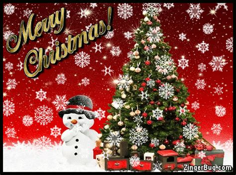 merry christmas snowman  tree  falling snowflakes glitter graphic greeting comment meme